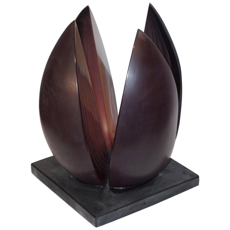 A. Barbaro Abstract Flower Sculpture in a Dark Plum Murano Glass on Slate Base For Sale