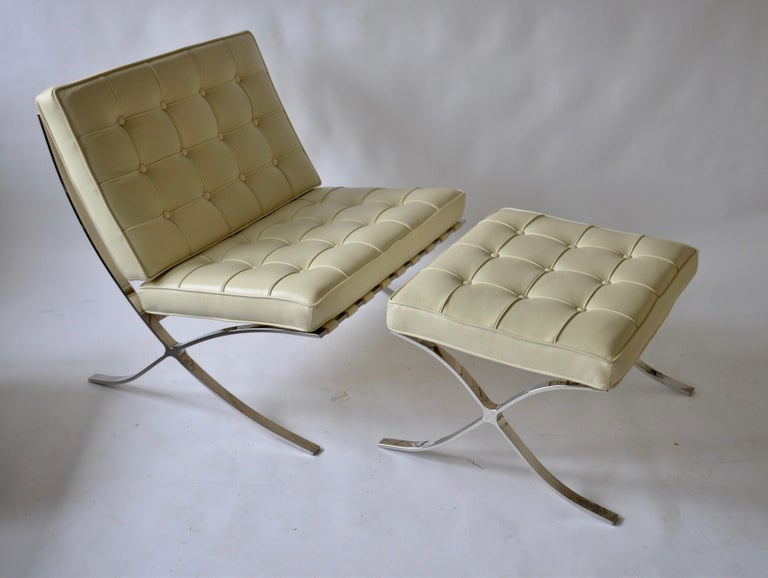 Mid-Century Modern Barcelona Style Chair and Ottoman For Sale