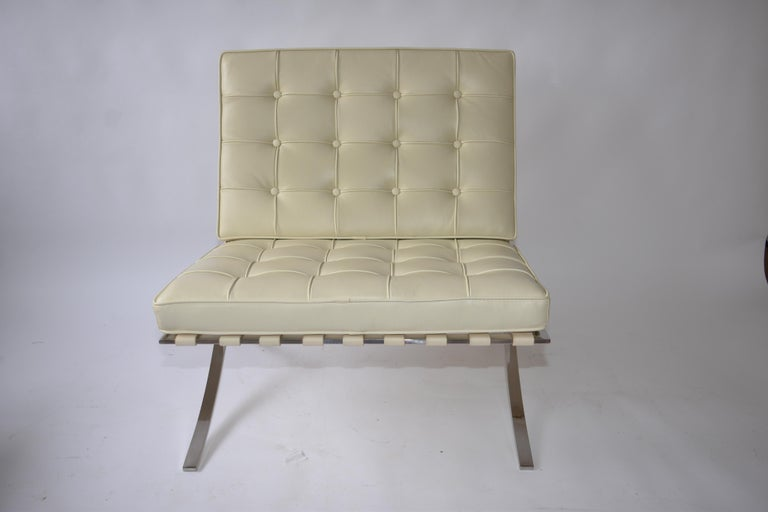 Italian Barcelona Style Chair and Ottoman For Sale