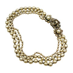 A baroque pearl and iridescent paste three row necklace, Miriam Haskell, 1950s