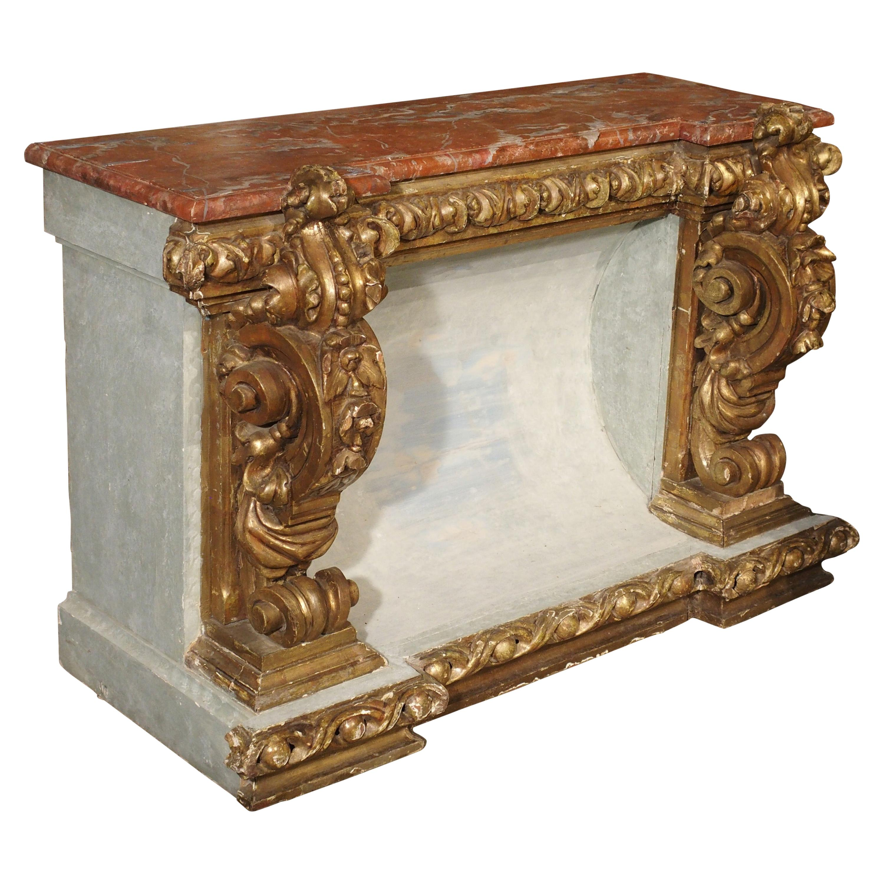 Baroque Style Polychrome and Giltwood Console with Faux Marble Top