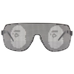 A BATHING APE BAPE black metal dotted shutter shades kanye sunglasses logo print