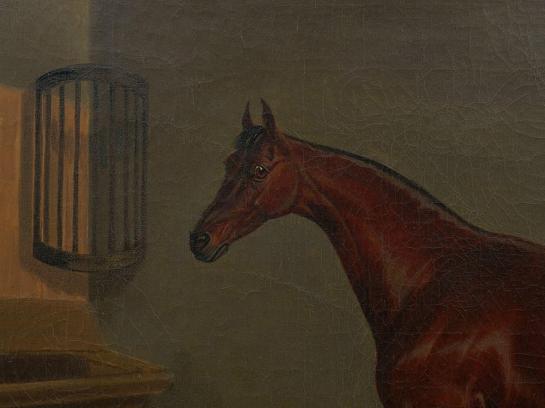 """""""A Bay Racehorse in Stable"""" '1832' Antique English Painting by James Loder For Sale 5"""