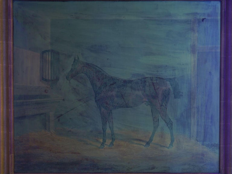 """""""A Bay Racehorse in Stable"""" '1832' Antique English Painting by James Loder For Sale 13"""