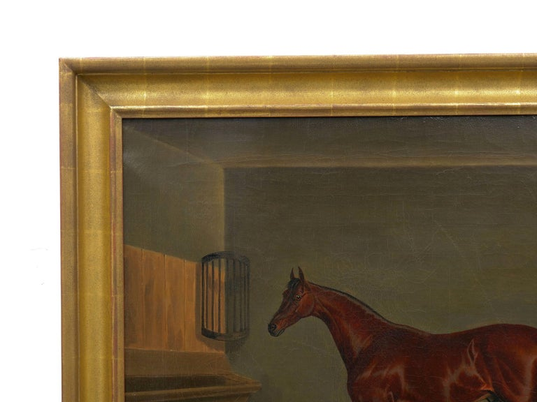 """Oiled """"A Bay Racehorse in Stable"""" '1832' Antique English Painting by James Loder For Sale"""