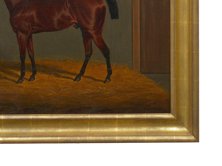 """""""A Bay Racehorse in Stable"""" '1832' Antique English Painting by James Loder In Good Condition For Sale In Shippensburg, PA"""