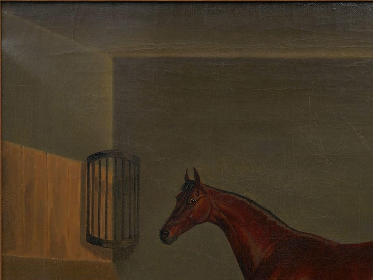 """19th Century """"A Bay Racehorse in Stable"""" '1832' Antique English Painting by James Loder For Sale"""