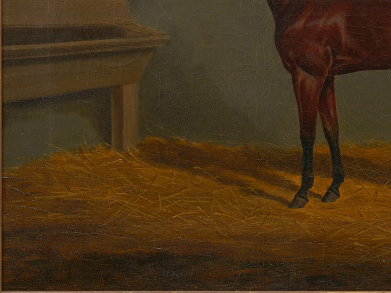 """""""A Bay Racehorse in Stable"""" '1832' Antique English Painting by James Loder For Sale 1"""