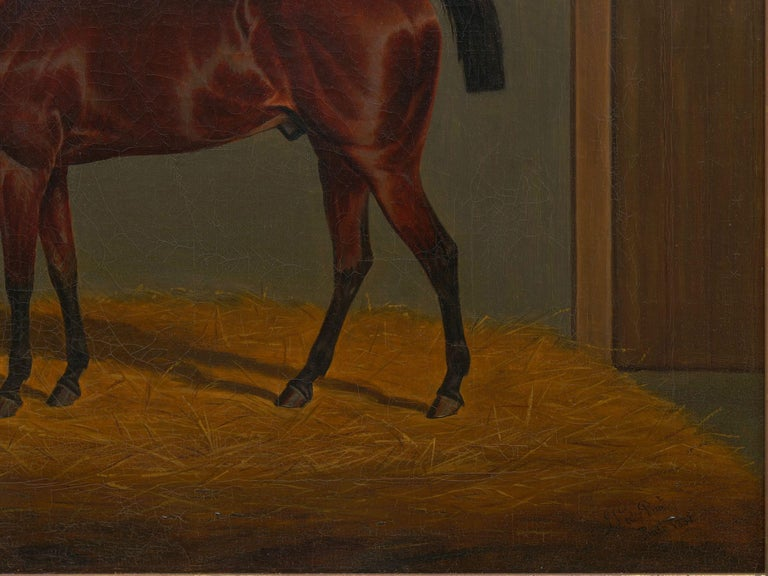 """""""A Bay Racehorse in Stable"""" '1832' Antique English Painting by James Loder For Sale 2"""