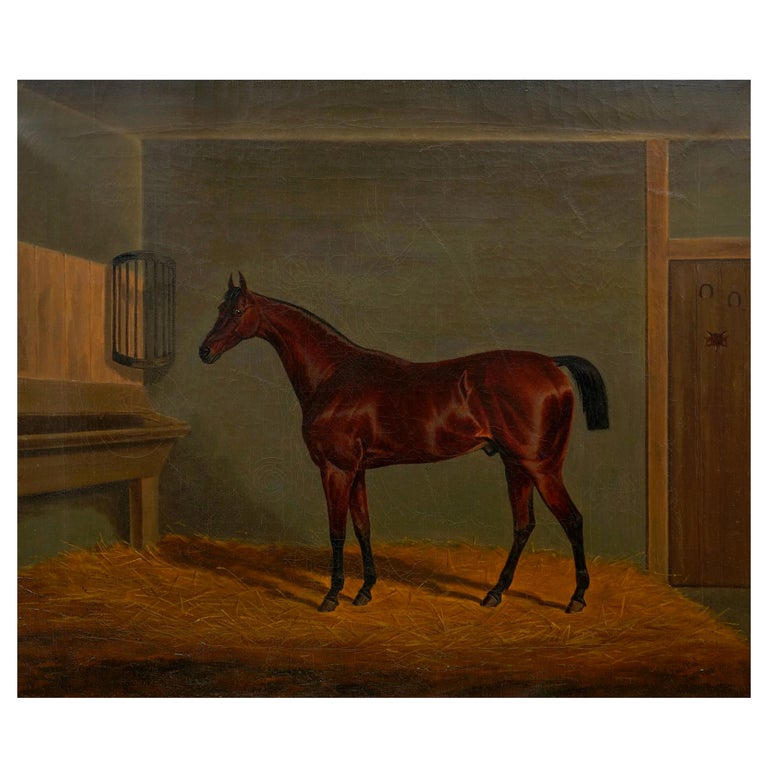 """""""A Bay Racehorse in Stable"""" '1832' Antique English Painting by James Loder For Sale"""