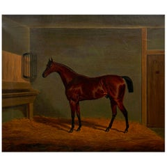 """""""A Bay Racehorse in Stable"""" '1832' Antique English Painting by James Loder"""