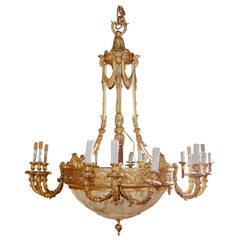 Beautiful 19th Century Alabaster and Gilt Bronze French Louis XVI Chandelier