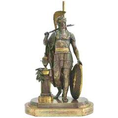 Beautiful 19th Century Bronze Classical Soldier Lamp, Custom Mounted