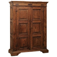 Beautiful Italian Walnut Two-Door Cabinet, Turn of 18th and 19th Century