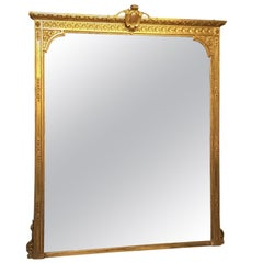 A Beautiful Large Victorian Period Carved Gilt-wood & Gesso Mirror