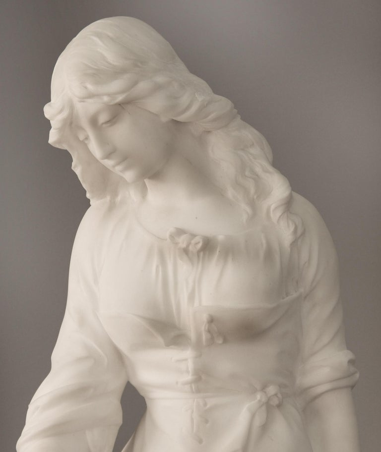Belle Époque Beautiful Late 19th Century French Carrara Marble of a Woman, Paul Fournier For Sale