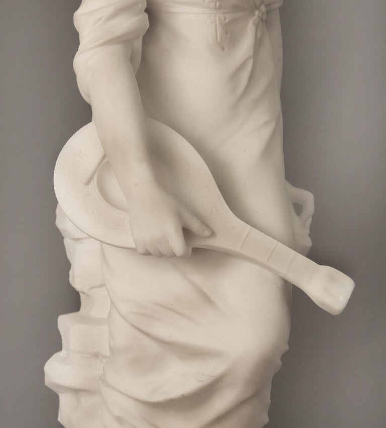 Hand-Carved Beautiful Late 19th Century French Carrara Marble of a Woman, Paul Fournier For Sale
