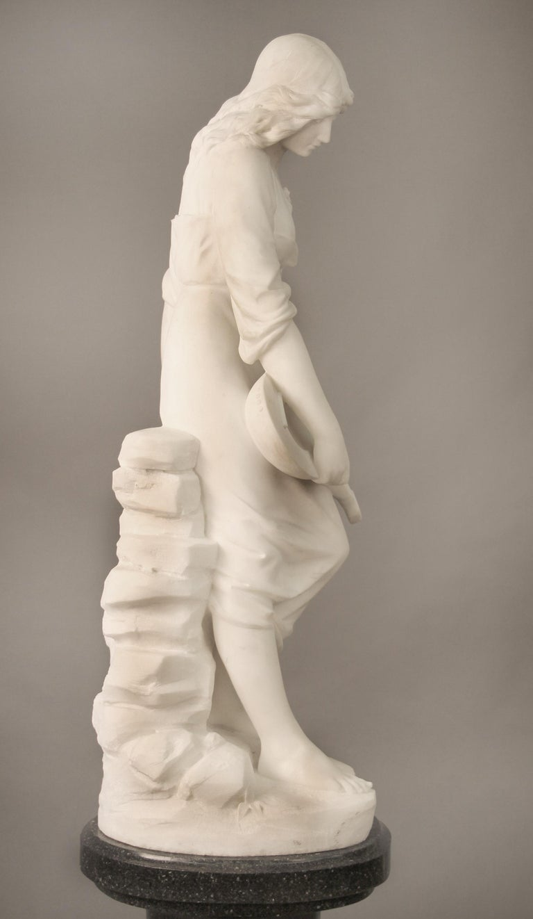 Beautiful Late 19th Century French Carrara Marble of a Woman, Paul Fournier In Good Condition For Sale In New York, NY