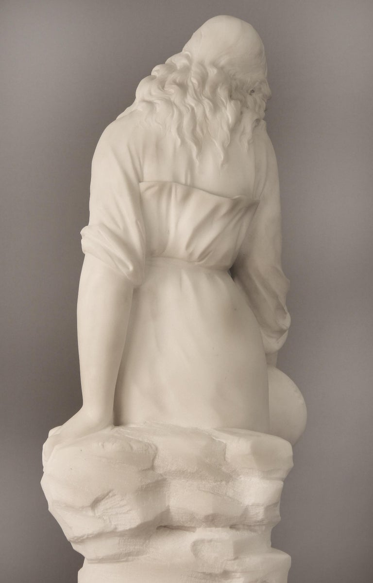 Beautiful Late 19th Century French Carrara Marble of a Woman, Paul Fournier For Sale 1