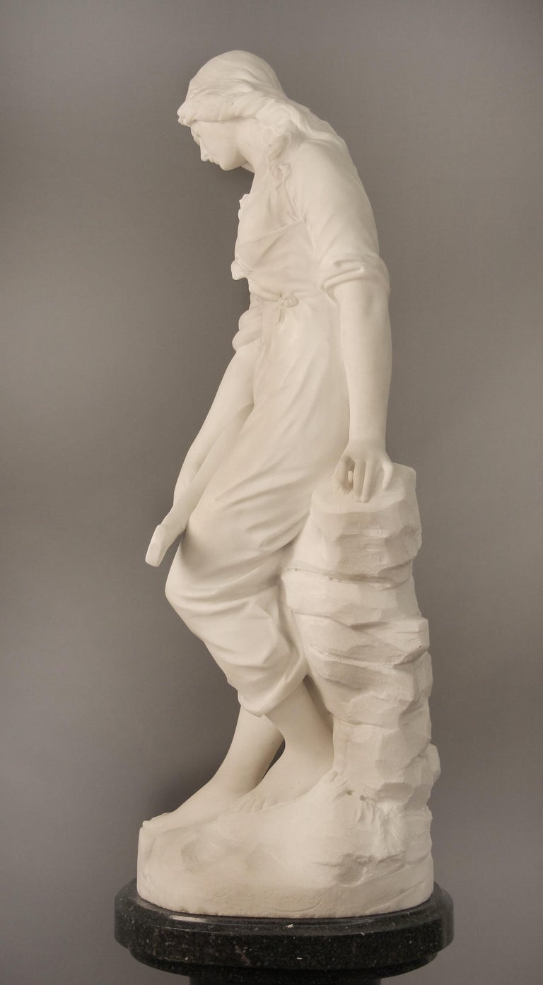 Beautiful Late 19th Century French Carrara Marble of a Woman, Paul Fournier For Sale 2