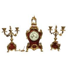 Beautiful Late 19th Century French Tortoise Shell and Ormolu Clock Garniture