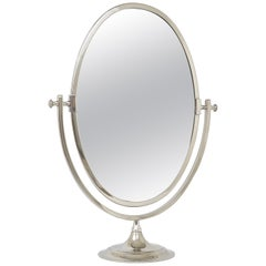 Beautiful Oval Silver Plated Brass tiltable Vanity Table Mirror, England, 1950s
