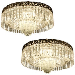 Beautiful Pair of Baccarat Crystal Art Nouveau Silver Chandeliers