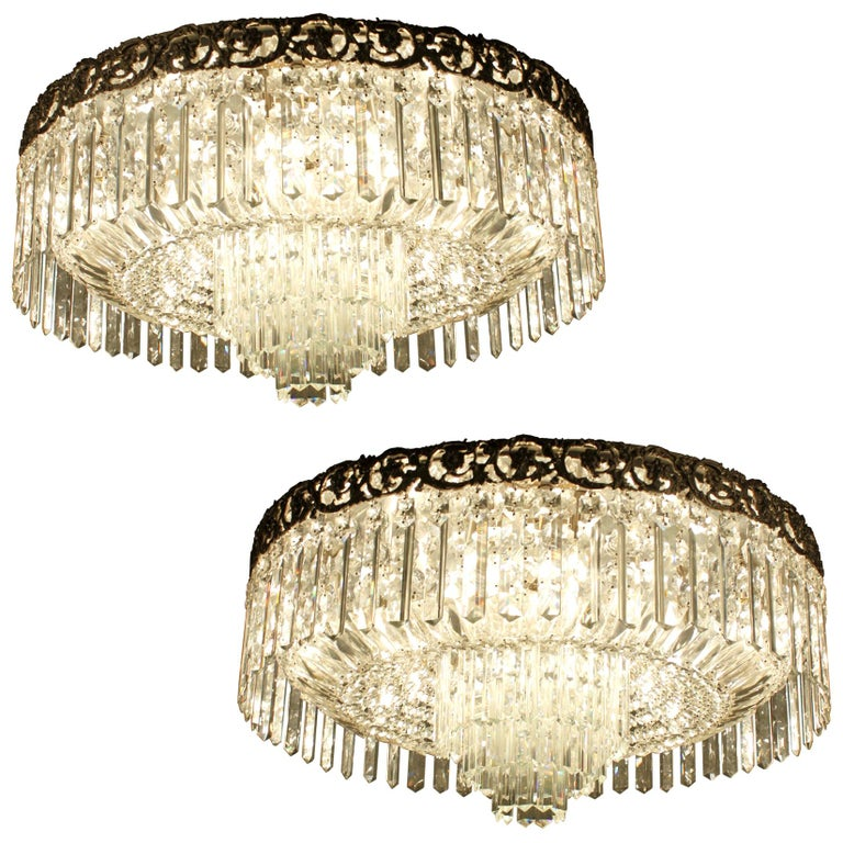 Beautiful Pair of Baccarat Crystal Art Nouveau Silver Chandeliers For Sale