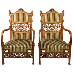 Beautiful Pair of Early 20th Century Art Nouveau Carved Wood Armchairs