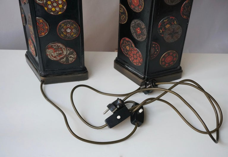 Beautiful Pair of Japanese Style Table Lamps, Italy, 1950s For Sale 9