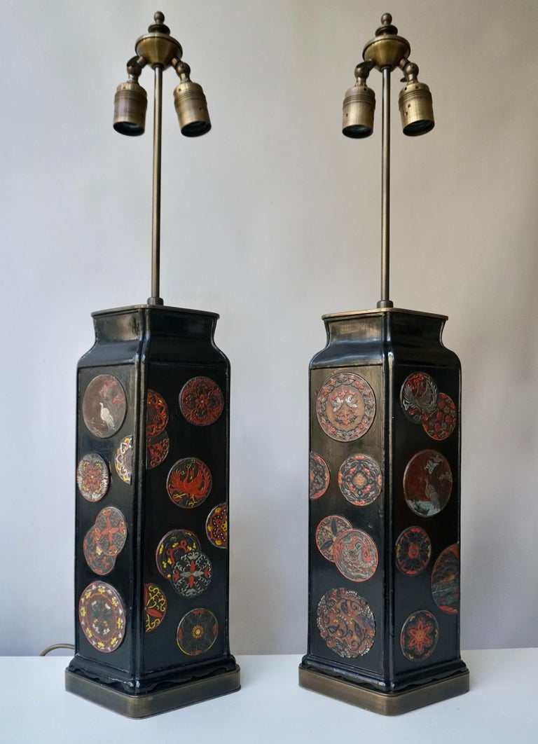 Italian Beautiful Pair of Japanese Style Table Lamps, Italy, 1950s For Sale