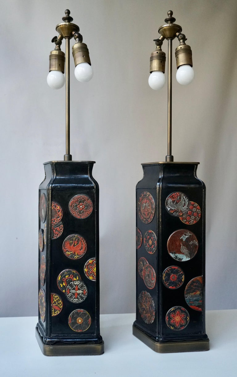 Hand-Painted Beautiful Pair of Japanese Style Table Lamps, Italy, 1950s For Sale