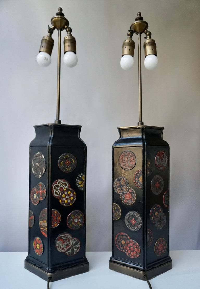 Beautiful Pair of Japanese Style Table Lamps, Italy, 1950s In Good Condition For Sale In Antwerp, BE