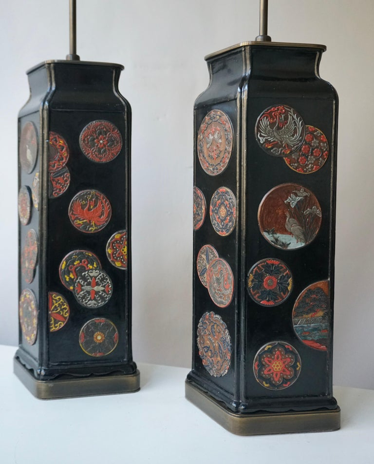 20th Century Beautiful Pair of Japanese Style Table Lamps, Italy, 1950s For Sale