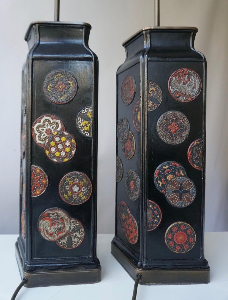 Beautiful Pair of Japanese Style Table Lamps, Italy, 1950s For Sale 1