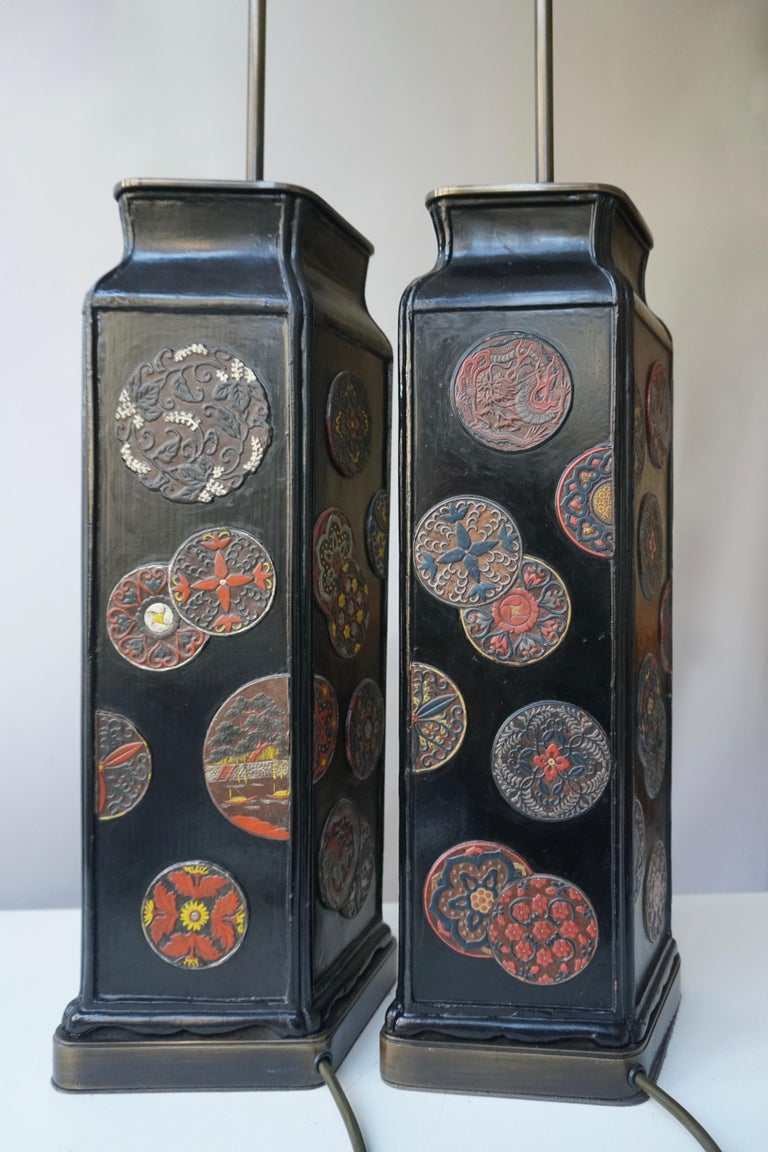 Beautiful Pair of Japanese Style Table Lamps, Italy, 1950s For Sale 2