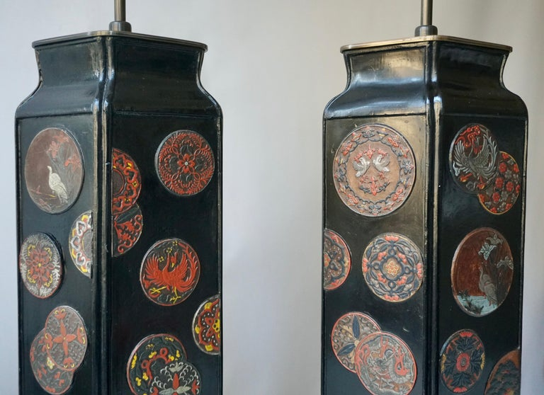 Beautiful Pair of Japanese Style Table Lamps, Italy, 1950s For Sale 3