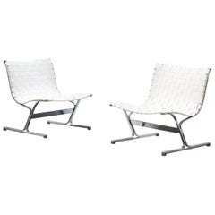 Beautiful Pair of Italian Lounge Chairs by Ross Littell for ICF, Italy