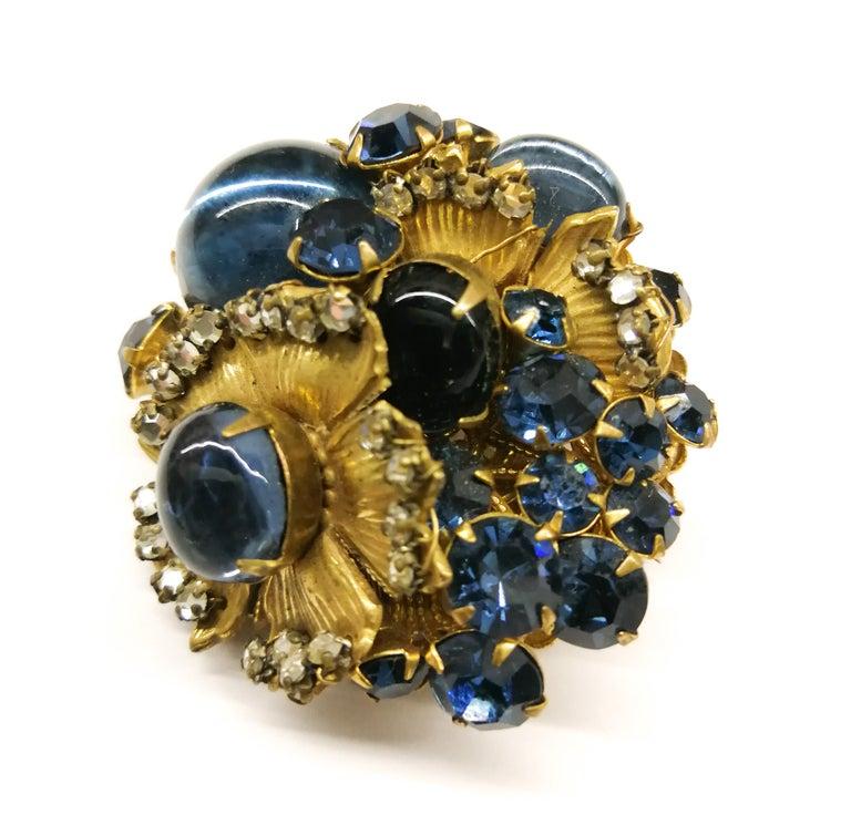 Baroque A beautiful sapphire paste and gilt metal 'cluster' brooch, De Mario, 1950s