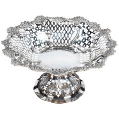 Beautifully Pierced Late 19th Century Bowl on a High Central Stem