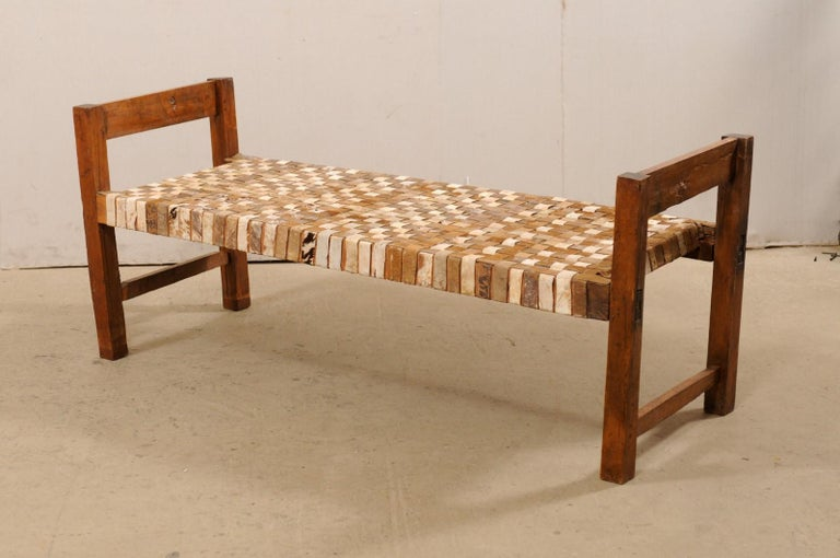 Beautifully Rustic Brazilian Day Bench with Woven-Leather Seat, Mid-20th Century For Sale 6