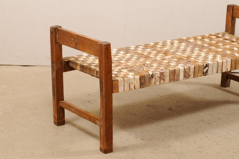 Hand-Woven Beautifully Rustic Brazilian Day Bench with Woven-Leather Seat, Mid-20th Century For Sale