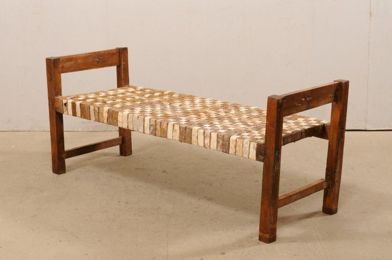 Beautifully Rustic Brazilian Day Bench with Woven-Leather Seat, Mid-20th Century For Sale 2