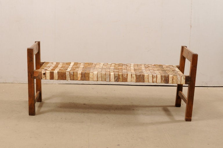Beautifully Rustic Brazilian Day Bench with Woven-Leather Seat, Mid-20th Century For Sale 3