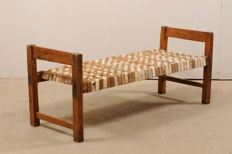 Beautifully Rustic Brazilian Day Bench with Woven-Leather Seat, Mid-20th Century For Sale 4