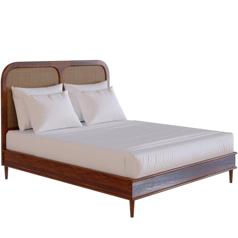 Bed for Hotel Sanders by Lind + Almond in Cognac & Rattan, USA King For Sale