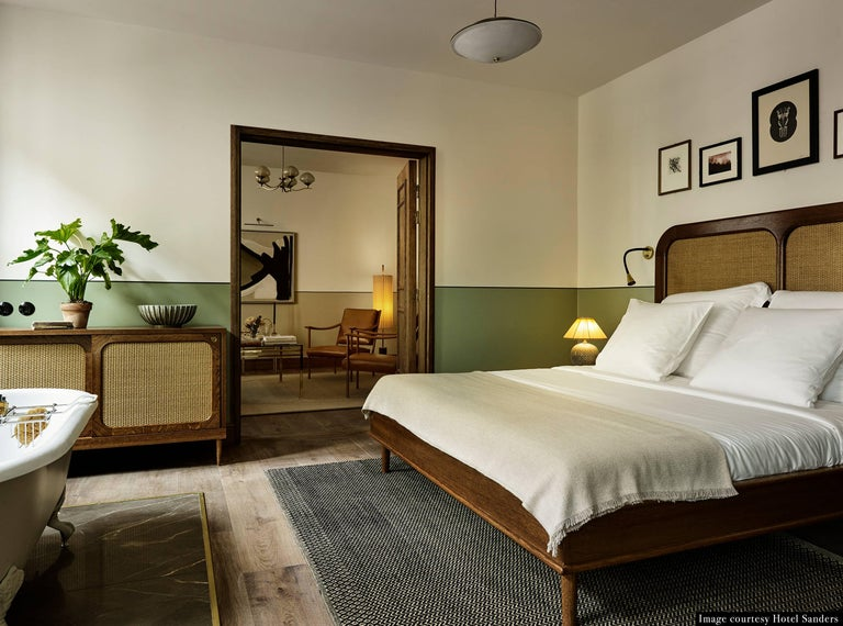Bed for Hotel Sanders by Lind + Almond in Oak and Rattan, Euro King For Sale 1