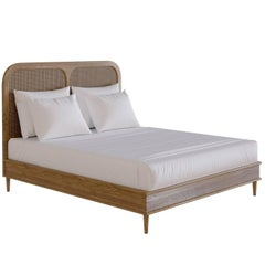 Bed for Hotel Sanders by Lind + Almond in Oak and Rattan, Euro King