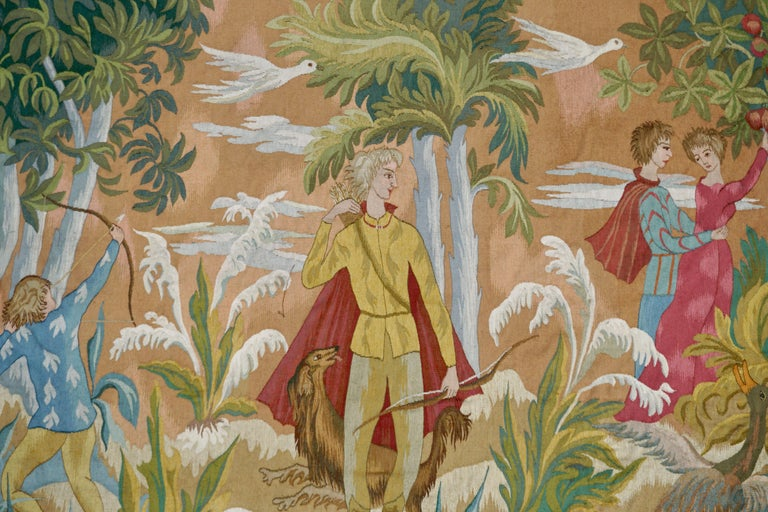 Finely worked in colored woolens and depicting hunters and two lovers, signed: 'J.V.D.VELDE'  Date; c. 1950-70's  A charming tapestry in very good condition and representative of the mid-century decorative schemes.
