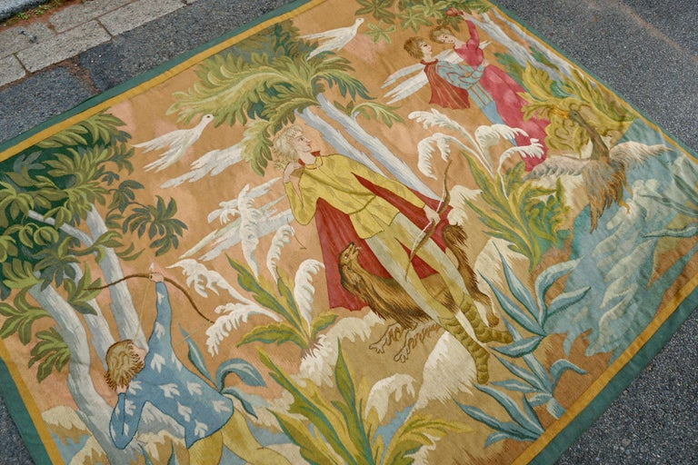 Mid-Century Modern Belgian Figural Tapestry For Sale